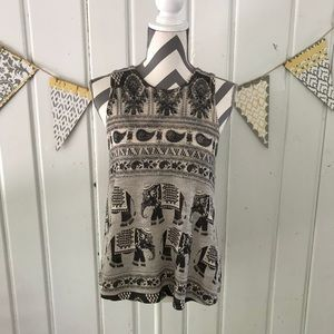 Ginger G Elephant Paisley Knit Tank Top
